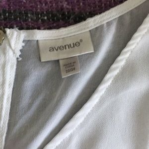 Avenue Tops - Avenue white shell with back zipper